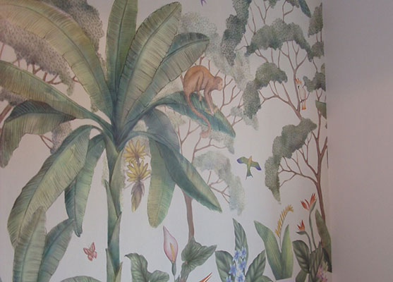 Cleaning and prepping wallpaper hanged in the client house